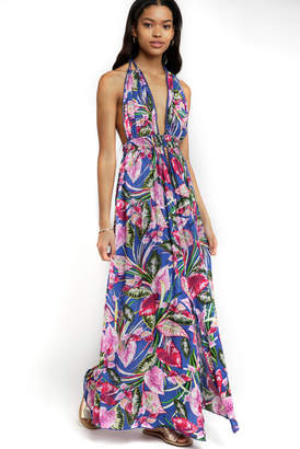 Boho Me Halter Multi Color Palm Print Maxi Dress