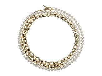 Michael Kors Pearl Link Dual Strand To Choker Necklace Necklace