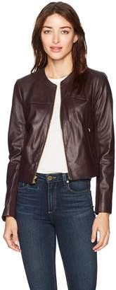 Via Spiga Women's Collarless Leather Jacket with Ponte Backing