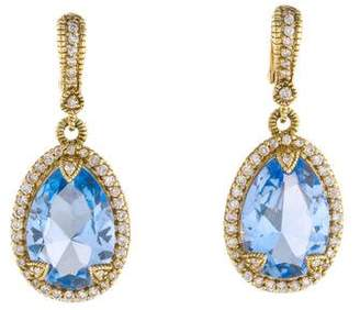 Judith Ripka 14K Crystal & Diamond Drop Earrings