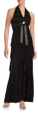 Betsy & Adam Plus Halter Ruffle Gown