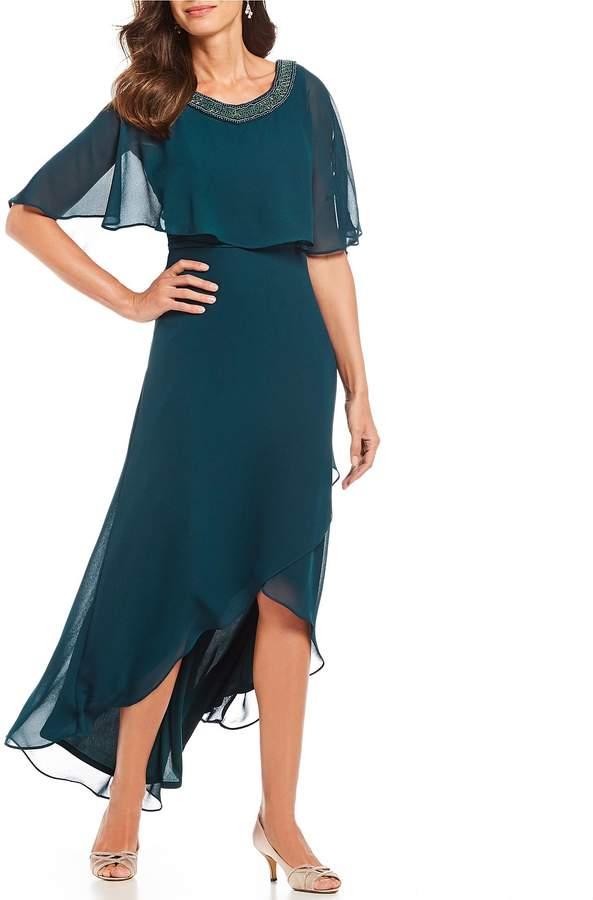 Le Bos 2-Piece Hi-Low Poncho Overlay Jacket Dress