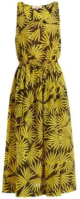 Diane von Furstenberg Floral Print Cotton Blend Midi Dress - Womens - Yellow Multi