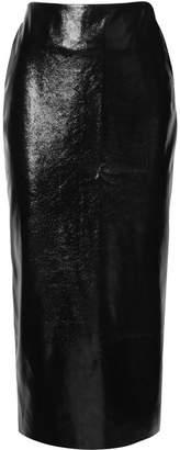 Georgia Alice - Night Textured-vinyl Midi Pencil Skirt - Black