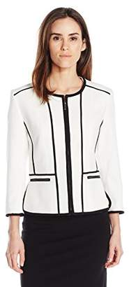 Kasper Women's Stretch Pique Zipper Front Jacket