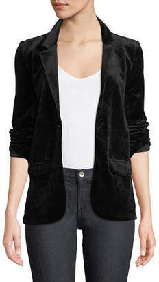 Neiman Marcus Majestic Paris for Single-Breasted Velour Blazer Jacket