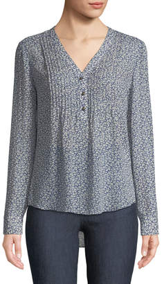 Contemporary Designer Floral V-Neck Pintucked Henley Blouse