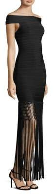 Herve Leger Fringe Trim Bandage Dress