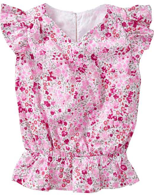Old Navy Ditsy-Floral Cross-Front Tops for Baby