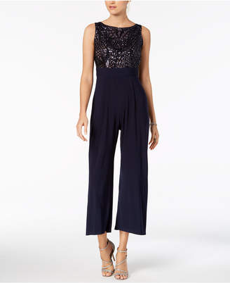 R & M Richards Petite Sleeveless Sequin-Contrast Jumpsuit