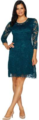 Isaac Mizrahi Live! Stretch Floral Lace 3/4 Sleeve Dress