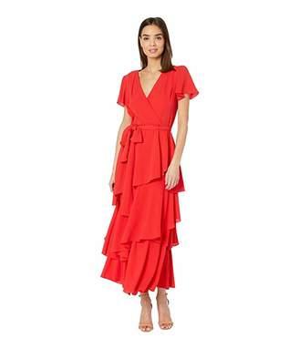 Tahari ASL Short Sleeve Tiered Pebble Chiffon Dress