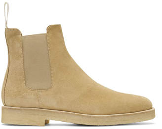 Common Projects Woman By Woman by Tan Suede Chelsea Boots