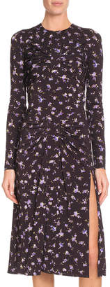Altuzarra Long-Sleeve Side-Slit Floral-Print A-Line Midi Dress