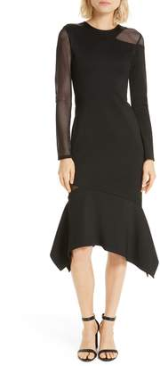 Alice + Olivia Kaine Mesh Inset Asymmetrical Hem Dress