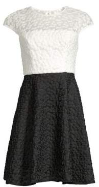 Milly Colorblock Embroidery Flare Dress