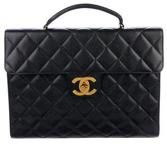 Chanel Quilted Caviar Briefcase