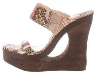 Jimmy Choo Python Wedge Sandals