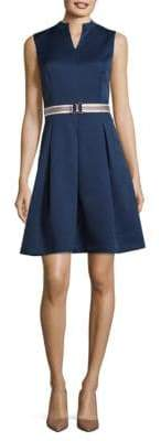Ellen Tracy Textured Dress With Striped Belt