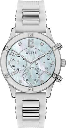 GUESS Breeze White Silicone Crystal Embellished Chronograph Watch