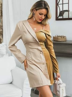 Shein Glamaker Two Tone Asymmetrical Neck Velvet Blazer Dress
