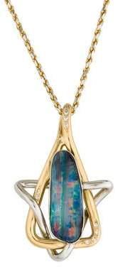 Bi-Color Opal & Diamond Pendant Necklace