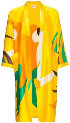 Owosso parrot print silk kimono
