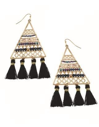 Canvas Triangle Tassel Earrings