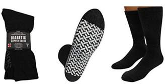 Personal Touch Health Care Apparel Personal Touch Comfortable Diabetic Slipper Socks Crew Style 1 Dozen Pairs (Size 13-15, 12 Black)