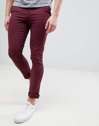 Asos DESIGN Super Skinny Pants In Burgundy Polka Dot