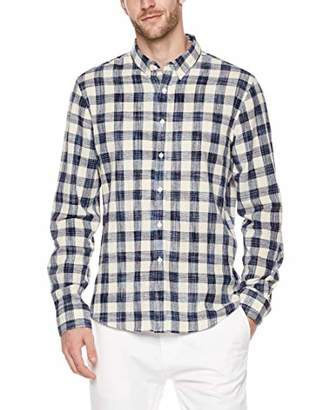 Trimthread Men's Simple Stylish Classic Fit Plaid Long Sleeve Button Up Casual Shirt (