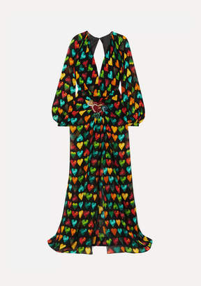 Versace Embellished Printed Silk-chiffon Gown - Black