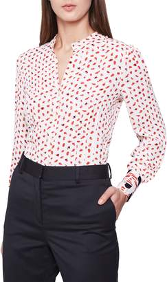Reiss Kaya Abstract Pattern Contrast Cuff Blouse