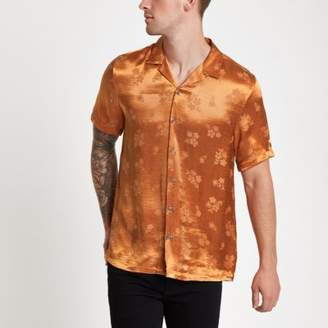 River Island Orange jacquard floral revere shirt