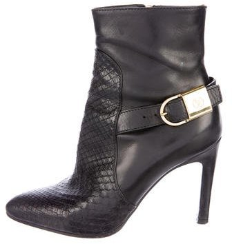 Louis Vuitton Snakeskin Pointed-Toe Ankle Boots