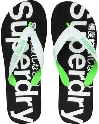 Mens Mainline Flip Flops With Clear Sole Optic/Black/Fluro Green