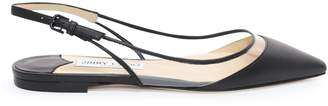 Jimmy Choo ERIN FLAT Black and Clear Nappa with Plexi Slingback Flats