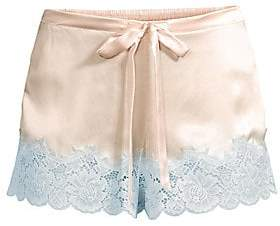 Ginia Ginia Women's Lace-Trimmed Silk Sleep Shorts