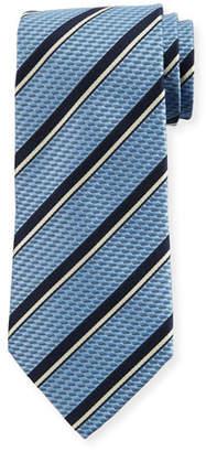 Ermenegildo Zegna Two-Tone Stripe Silk Tie