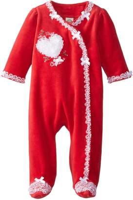 Little Me Baby-Girls Newborn Lace Holly Velour Footie