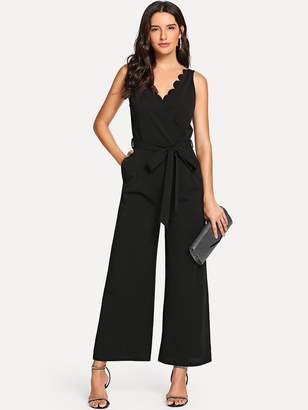 d39dbfbaab6 Shein Scallop Edge Open Back Belted Palazzo Jumpsuit