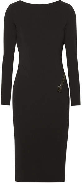TOM FORD - Open-back Zip-detailed Stretch-crepe Dress - Black