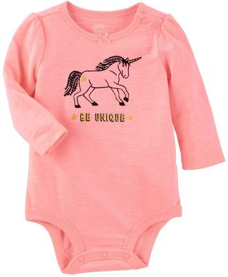 "Osh Kosh Oshkosh Bgosh Baby Girl Be Unique"" Unicorn Bodysuit"