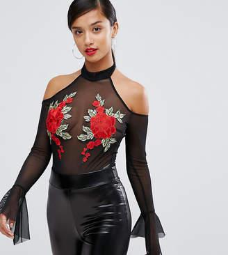 NaaNaa Petite Mesh Off Shoulder Body With Floral Applique