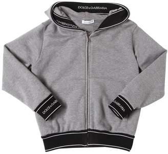 Dolce & Gabbana Logo Trim Zip-Up Cotton Sweatshirt