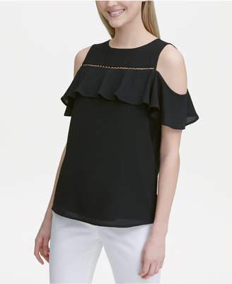 b69f9fe49eb12d Calvin Klein Cold-Shoulder Beaded-Trim Top