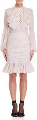 Giambattista Valli Ruffled Long Sleeve Ruched Silk Dress