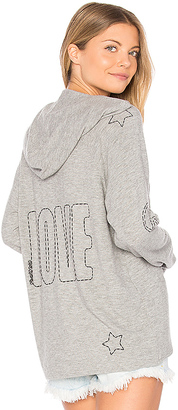 Lauren Moshi Cali Lace Up Front Hoodie in Gray $174 thestylecure.com