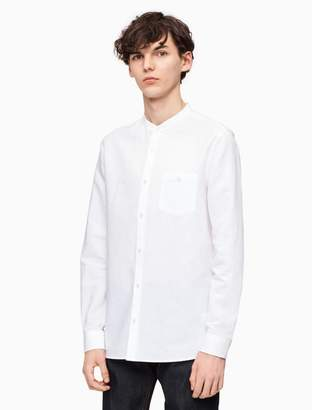 Calvin Klein classic fit band collar linen blend shirt