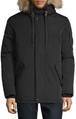 Calvin Klein Alternative Down Parka Jacket With Faux Fur Hood Details